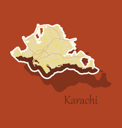 karachi pakistan colorful sticker map streets vector image vector image