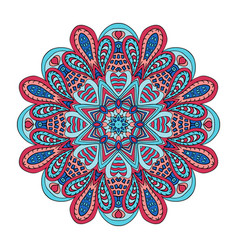 Mandala flower doodle drawing round ornament red vector