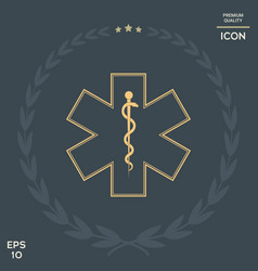 medical symbol of the emergency - star of life vector image vector image