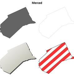 Merced county california outline map set vector