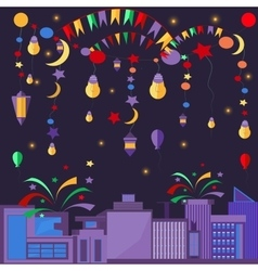 Night city festive elements balls lamps stars vector