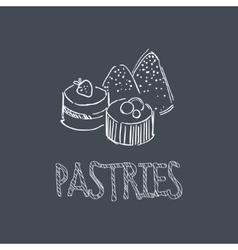 Pastry sketch style chalk on blackboard menu item vector