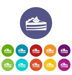 Piece of cake set icons vector image