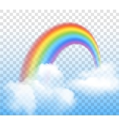 Rainbow With Clouds Transparent vector image vector image