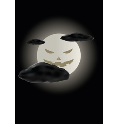 Scary face of halloween moon vector image vector image
