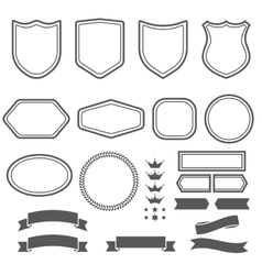 Set of elements ribbons and emblem forms for vector
