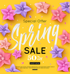 Spring sale banner template decorated with bright vector