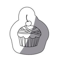Sticker silhouette cherry cupcake icon vector