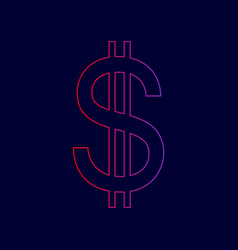 United states dollar sign line icon with vector