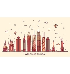 USA skyline silhouette linear style vector image