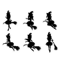 Witch with broom silhouette vector