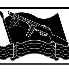 Stencil of soviet machine gun and flag vector