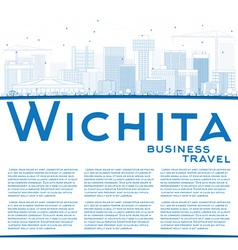 Outline Wichita Skyline with Blue Buildings vector image