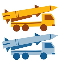 Military missile vehicle cartoon silhouette vector image