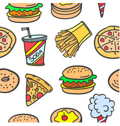 Collection stock of fast food style doodles vector