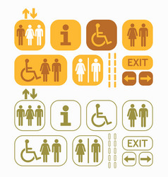 Yellow brown and olive green public access icons vector
