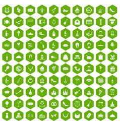 100 banquet icons hexagon green vector