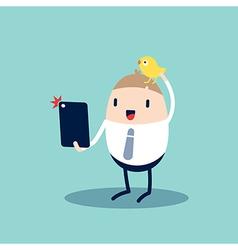 Selfie cartoon with smart phone vector