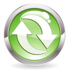 gloss button with recycling symbol vector image
