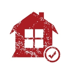 Select house red grunge icon vector