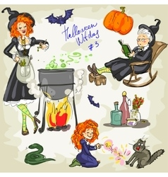 Printhalloween witches - 3 hand drawn collection vector