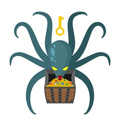 Octopus guarding pirate treasures gold chest vector