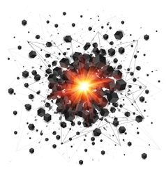 Black cubes and red fire explosion isolated on vector