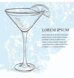 White lady cocktail scetch vector