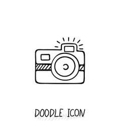 Doodle photo icon vector