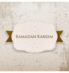 Ramadan kareem emblem with text and ribbon vector