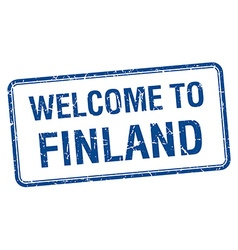 Welcome to finland blue grunge square stamp vector