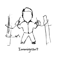 Drawing of refugee on a white background vector