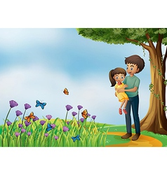 A girl and his father at the hilltop vector image