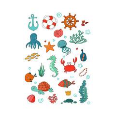 Big set of marine sea theme vector