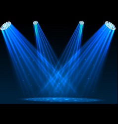 blue spotlights with white podium on dark backgrou vector image vector image
