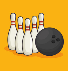 bowling sport equipment icon vector image