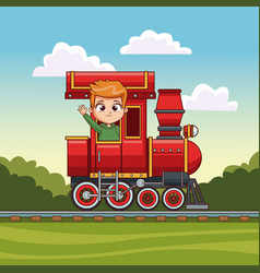 Boy riding in train vector