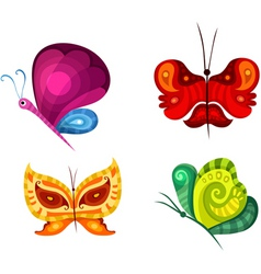 butterfly set vector image