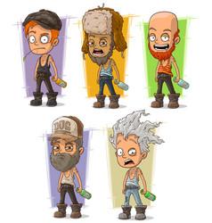 cartoon hooligan and alcoholic set vector image