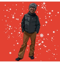 Cartoon man in winter clothes on a red background vector