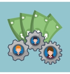 character gears business money vector image