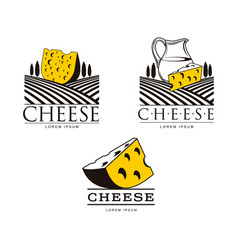 cheese logo templates with fields and jug vector image vector image