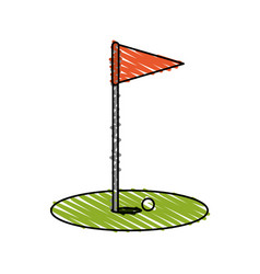 Color crayon stripe cartoon golf flag with hole vector