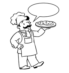 Coloring book of funny cook or chef with pizza vector