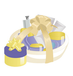 Cosmetics gift set in a basket vector