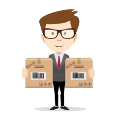 Delivery man isolated on the white background vector image vector image