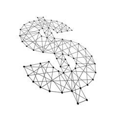 Dollar sign from polygonal black lines and dots vector
