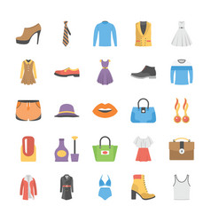 fashion icons collection in flat design vector image vector image