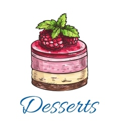Fruit dessert or berry cake with raspberry sketch vector image vector image