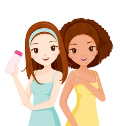 Girls Smiling And Holding Beauty Packaging vector image vector image